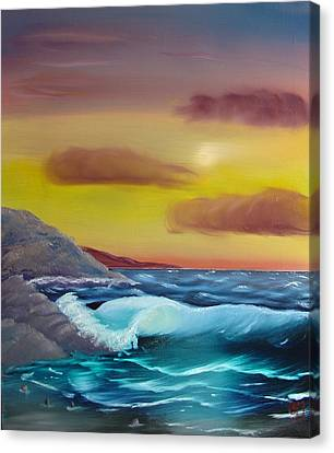 Canvas Print featuring the painting Stormy Beach by Charles and Melisa Morrison