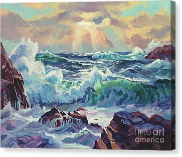 Stormy Sea Rockaway Beach Canvas Print by David Lloyd Glover