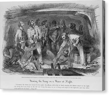 Stowing African Captives In A Slave Canvas Print by Everett