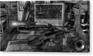 Polish Folk Art Canvas Print - Stradivarius And Trumpet At Rest - Violin - Nostalgia - Vintage - Music -instruments  - II by Lee Dos Santos