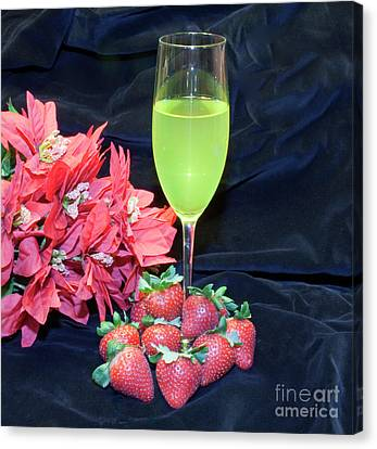 Strawberries And Wine Canvas Print by Michael Waters