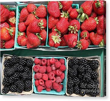 Strawberries Blackberries Rasberries - 5d17809 Canvas Print by Wingsdomain Art and Photography