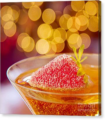 Strawberry And Champagne Canvas Print by Kim Fearheiley