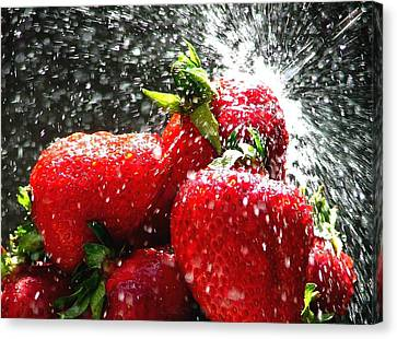 Strawberry Splatter Canvas Print by Colin J Williams Photography
