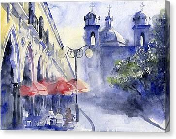 Street Cafe Canvas Print by Tania Vasylenko