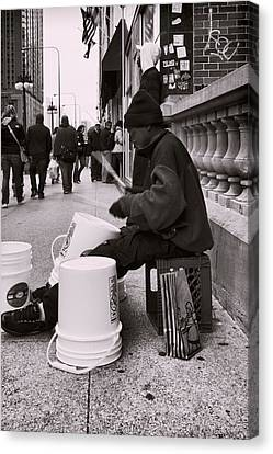 Street Drummer Canvas Print by Peter Chilelli