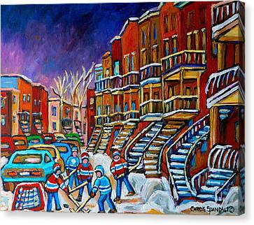 Street Hockey Game In Winter Canvas Print by Carole Spandau