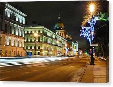 Street In Saint Petersburg Canvas Print by Roman Rodionov