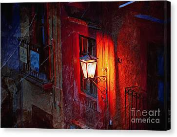Street Light On Calle Quebrada Canvas Print by John  Kolenberg