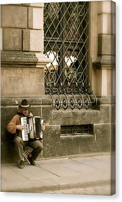 Street Musician Canvas Print by Brittany Spitler
