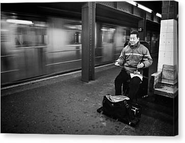 Street Musician In Subway Station In New York City Canvas Print by Ilker Goksen