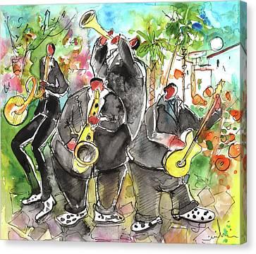 Street Musicians In Cyprus Canvas Print by Miki De Goodaboom