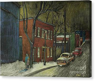 Street Scene In Pointe St. Charles Canvas Print by Reb Frost