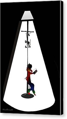 Streetlight Reading  Canvas Print by Asok Mukhopadhyay