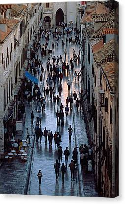 Streets Of Dubrovnik Canvas Print by Carl Purcell