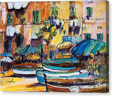 Streets Of Portofino Italy Canvas Print by Ginette Callaway