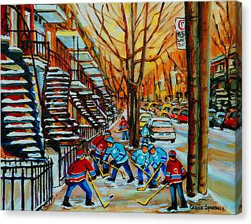Streets Of Verdun Hockey Art Montreal City Scenes With Winding Staircases And Row Houses Canvas Print by Carole Spandau