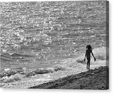 Strolling On Connecticut Beach Canvas Print by Cindy Lee Longhini