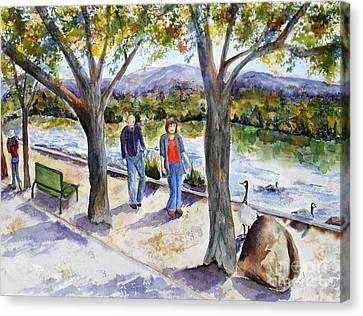 Strolling Virginia Lake Canvas Print by Vicki  Housel