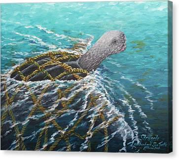 Struggle -leatherback Sea Turtle Canvas Print