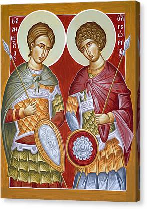 Sts Dimitrios And George Canvas Print by Julia Bridget Hayes