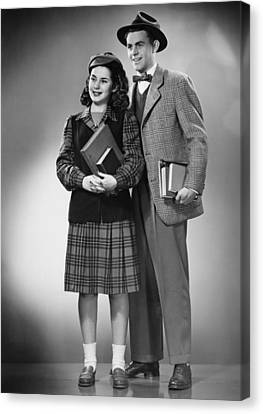 Student Couple Posing In Studio, (b&w), Portrait Canvas Print by George Marks
