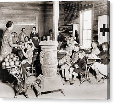 Students In A One-room School Canvas Print by Everett