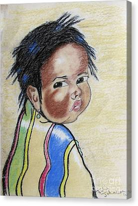 Study Of A Navajo Child  2 Canvas Print by Julie Coughlin