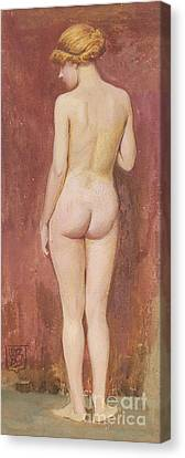 Study Of A Nude Canvas Print by Murray Bladon