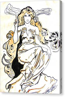 Study Of Art Nouveau After Mucha Canvas Print by Julie Coughlin
