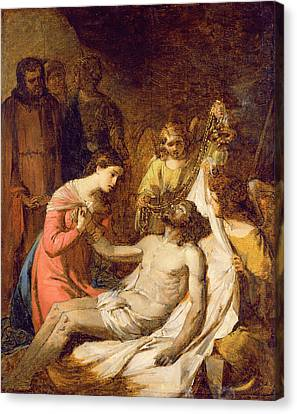 Study Of The Lamentation On The Dead Christ Canvas Print by Benjamin West