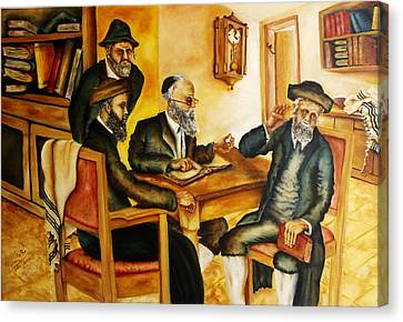 Canvas Print featuring the painting Studying Gmara by Itzhak Richter