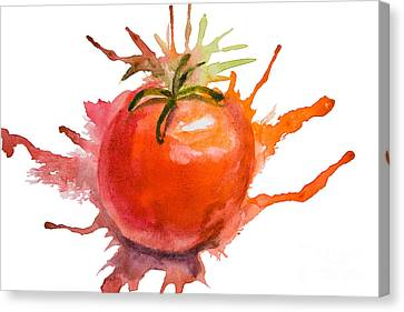 Tomato Canvas Print - Stylized Illustration Of Tomato by Regina Jershova