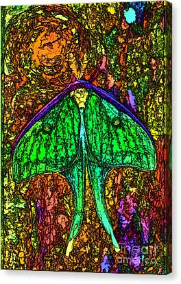 Canvas Print featuring the photograph Stylized Luna Moth by Clare VanderVeen