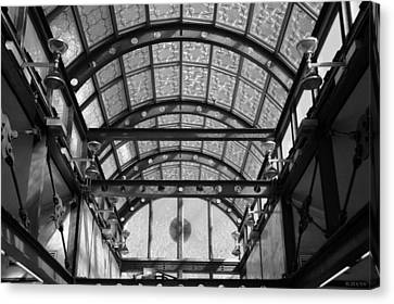 Subway Glass Station In Black And White Canvas Print by Rob Hans