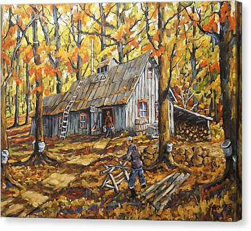 Sugar Bush Fall Scene Sugar Shack By Prankearts Canvas Print