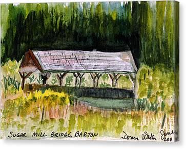Sugar Mill Covered Bridge In Barton Vt Canvas Print by Donna Walsh
