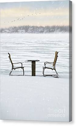 Summer Chairs In Winter Near Lake Canvas Print by Sandra Cunningham