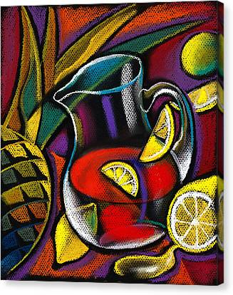 Still Life Of Wine And Grapes Canvas Print - Summer Drink by Leon Zernitsky