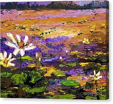 Impressionist Canvas Print - Summer Lotus Pond Impressionist Mixed Media Art by Ginette Callaway