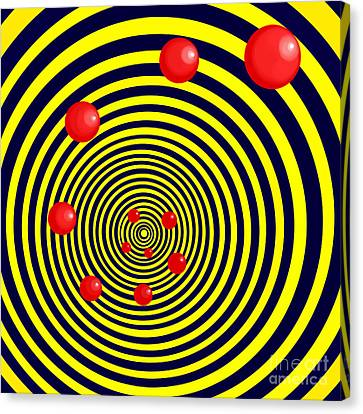 Summer Red Balls With Yellow Spiral Canvas Print