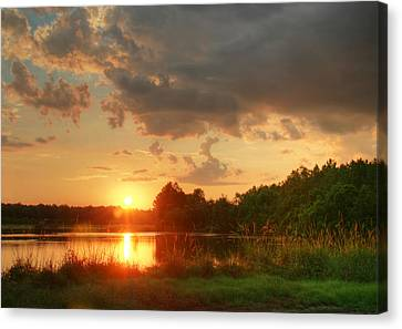 Canvas Print featuring the photograph Summer Sunset On Empire by Mary Hershberger