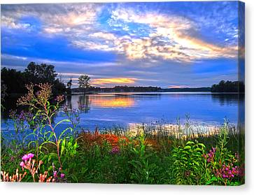 Canvas Print featuring the photograph Summertime Walk Around Lake  by Randall Branham