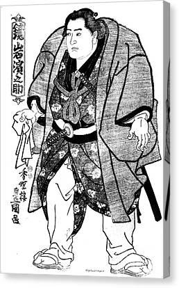 Sumo Wrestler Kagamiiwa Hamanosuke Litho Canvas Print by Padre Art