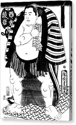 Sumo Wrestler Kagamiiwa Of The West Side Litho Canvas Print by Padre Art
