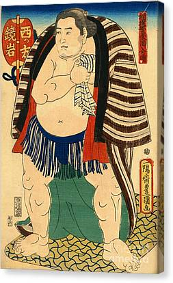 Sumo Wrestler Kagamiiwa Of The West Side Canvas Print by Padre Art