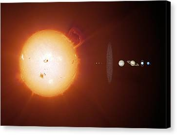 Sun And Planets, Size Comparison Canvas Print by Detlev Van Ravenswaay