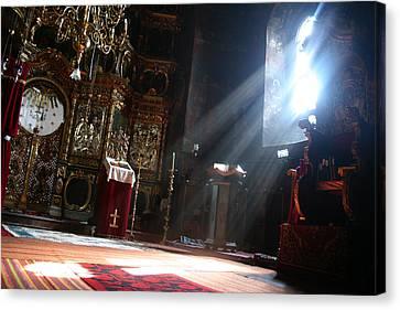 Sun Rays In Orthodox Church Canvas Print by Emanuel Tanjala