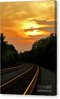 Sun Reflecting On Tracks Canvas Print by Benanne Stiens