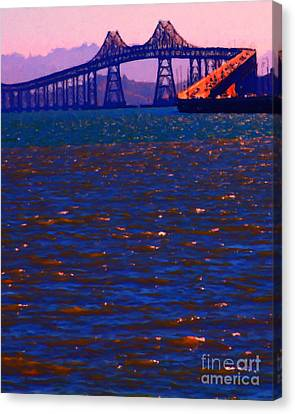 Sun Setting Beyond The Richmond-san Rafael Bridge - California - 5d18435 Canvas Print by Wingsdomain Art and Photography
